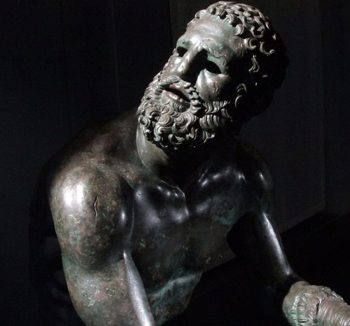 Copper Sculpure of bearded person