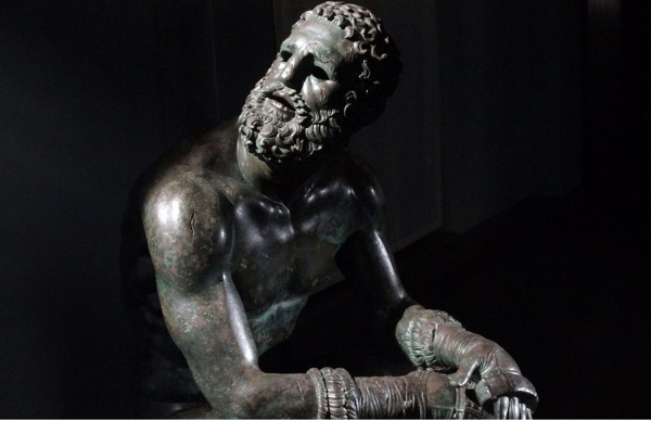 Sculpture of man with beard on BBC series Civilisations