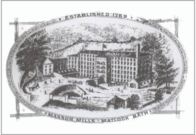 Black and White Drawing of Masson Mill From Drapers Record, 1897