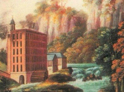 Watercolour painting of Masson Mills, the wier, a large water wheel and the River Derwent flowing beside