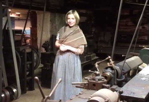 Lucy Worsley filming at Masson Mills