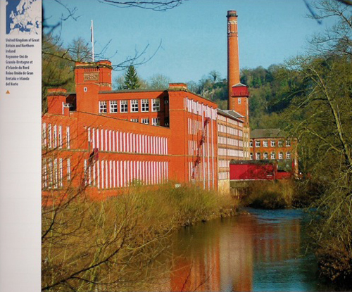 Masson Mills viewed from downstream, photgraphed for the UNESCO Desk Diary