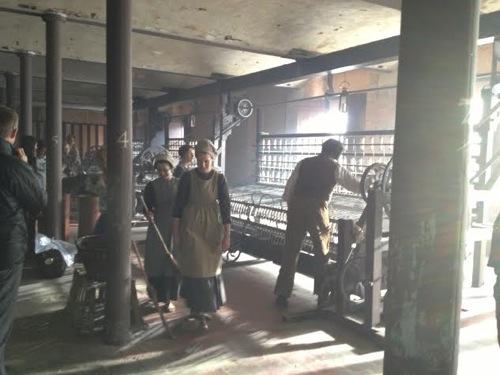 The film set of The Mill Series Two showing looms in situ