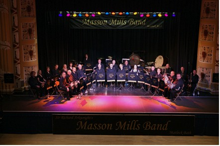 Masson Mills Band playing live music concert on stage